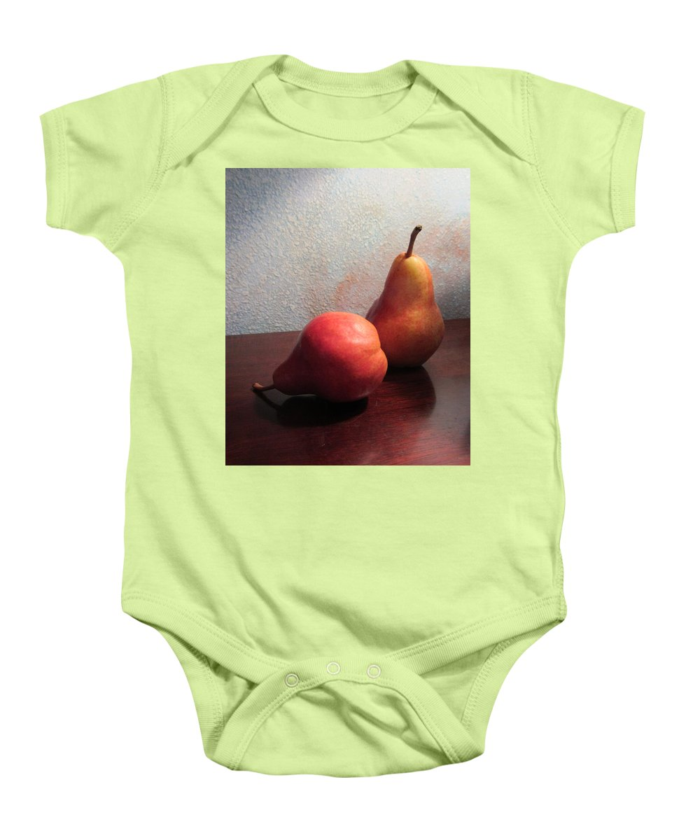Pears Baby Onesie featuring the photograph Juicy Still Life by Dody Rogers