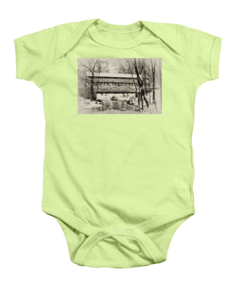Knox Baby Onesie featuring the photograph Knox Valley Forge Covered Bridge by Bill Cannon
