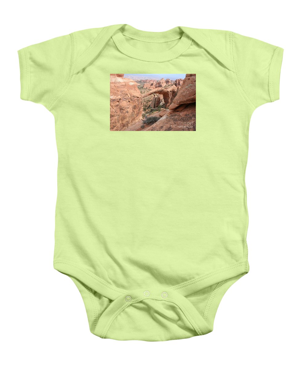 Landscape Arch Baby Onesie featuring the photograph Landscape Arch From Above by Christiane Schulze Art And Photography