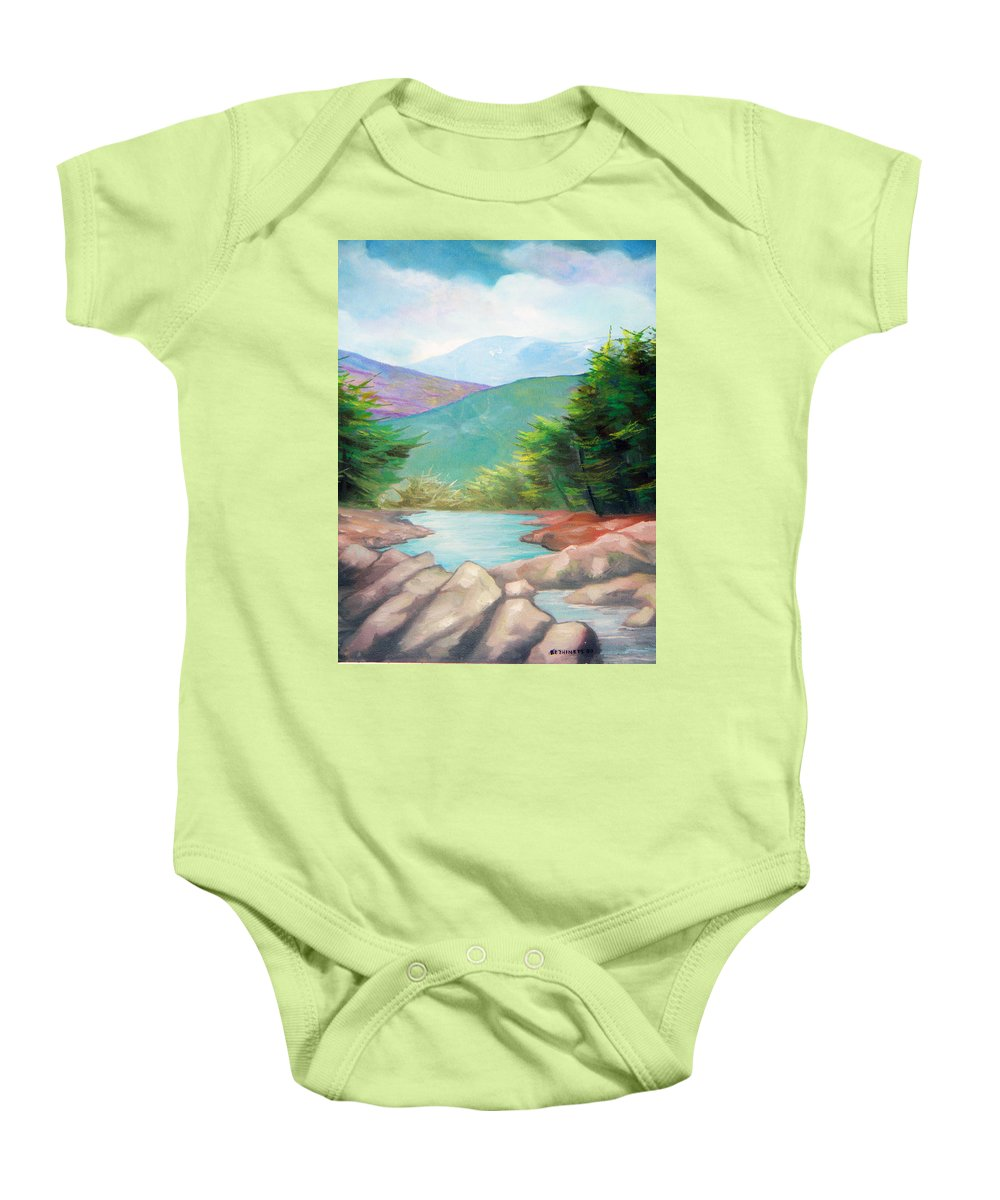 Bayou Baby Onesie featuring the painting Landscape With A Creek by Sergey Bezhinets