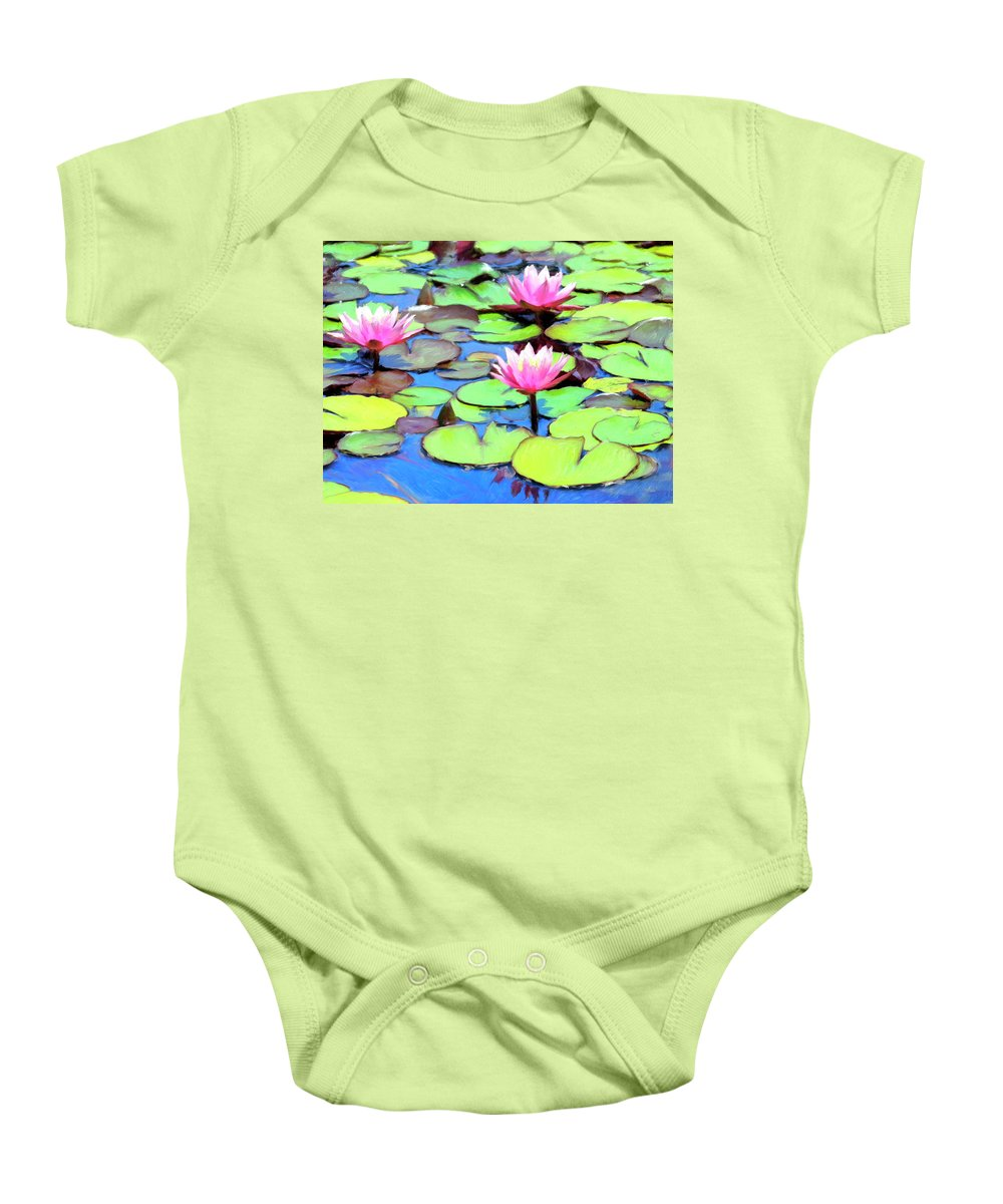 Lily Pond Baby Onesie featuring the painting Lily Pond by Dominic Piperata