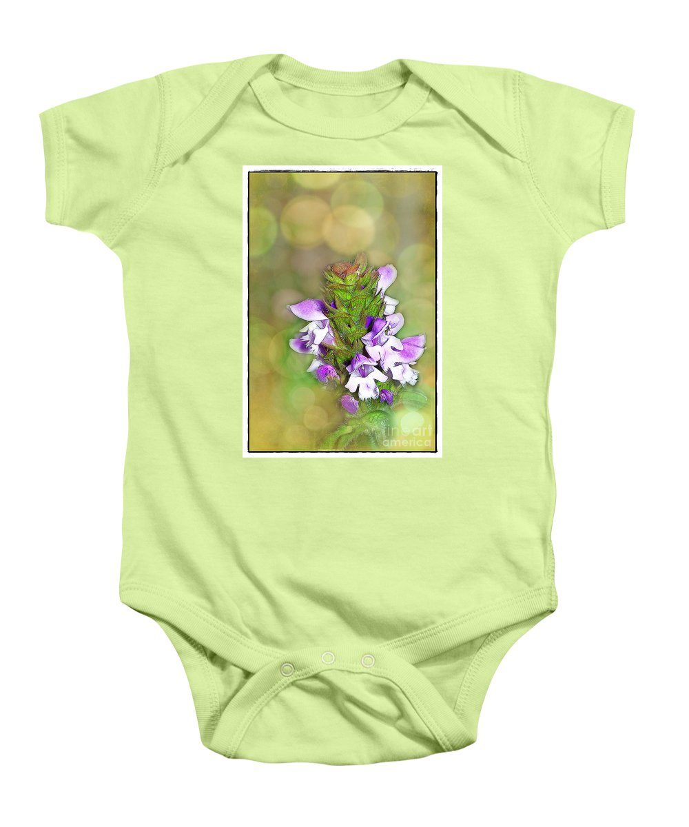 Purple Baby Onesie featuring the photograph Little Purple Mint by Judi Bagwell