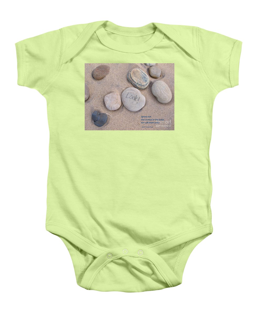 Stones Baby Onesie featuring the photograph Look - With Haiku by Ann Horn