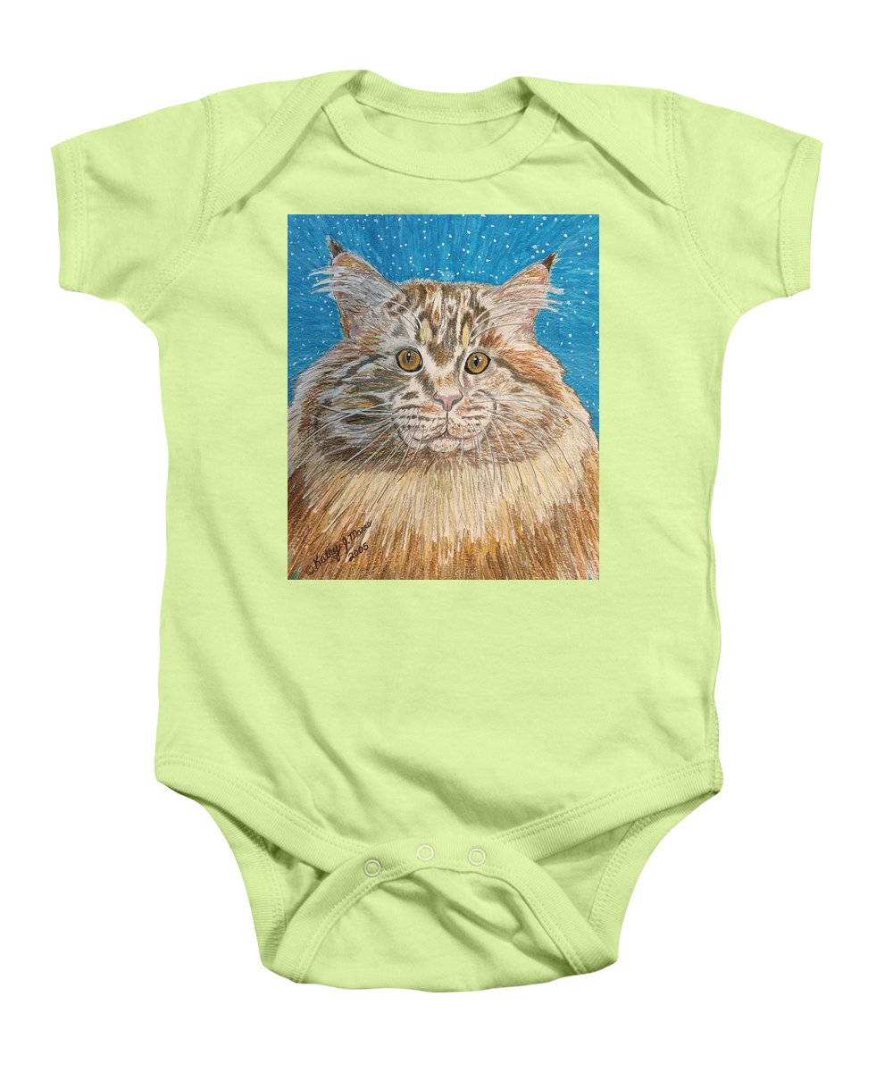 Maine Baby Onesie featuring the painting Maine Coon Cat by Kathy Marrs Chandler