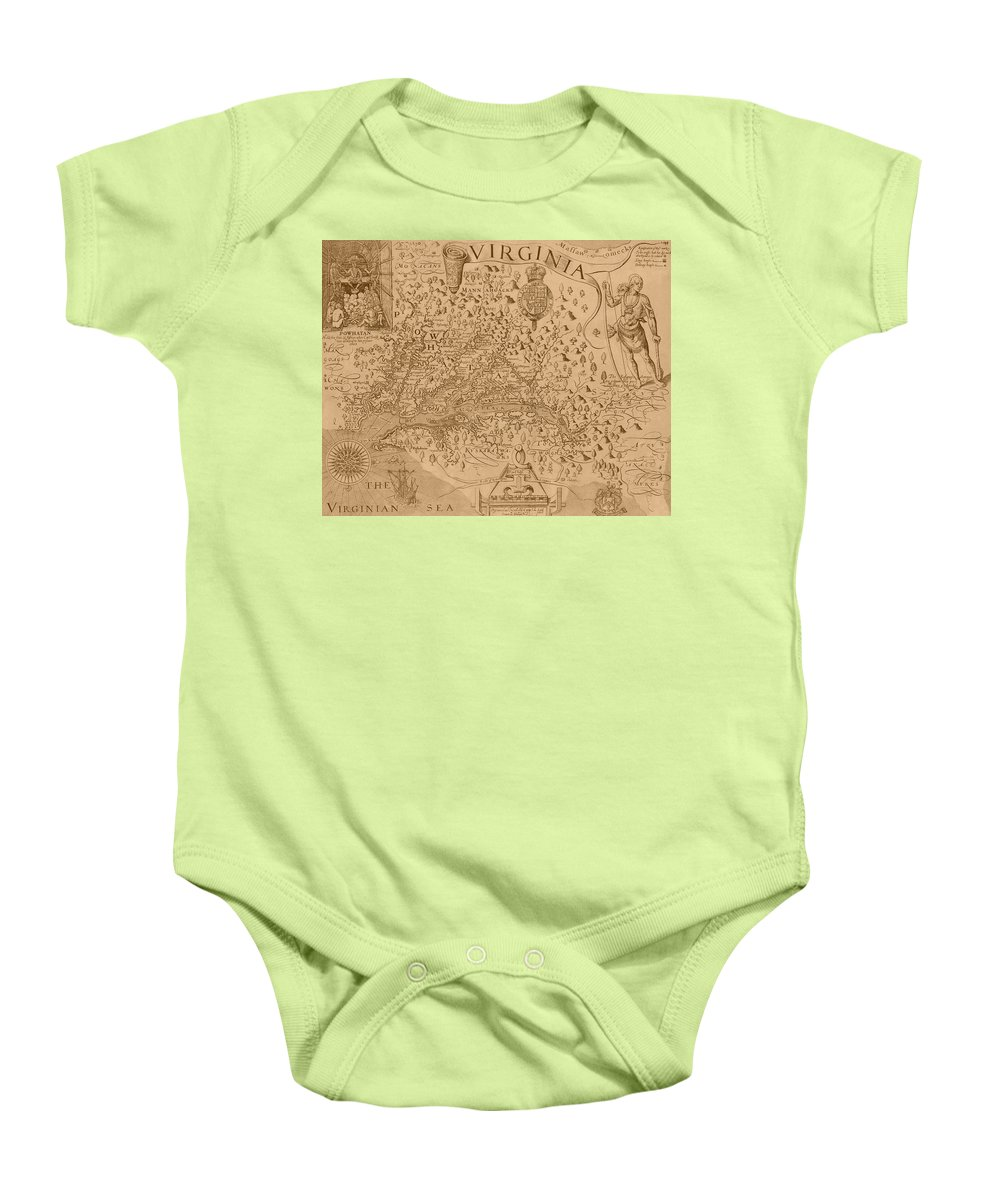 Virginia Baby Onesie featuring the photograph Map Of Virginia 1698 by Andrew Fare