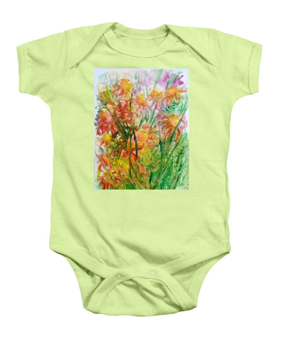 Meadow Flowers Baby Onesie featuring the painting Meadow Flowers by Zaira Dzhaubaeva