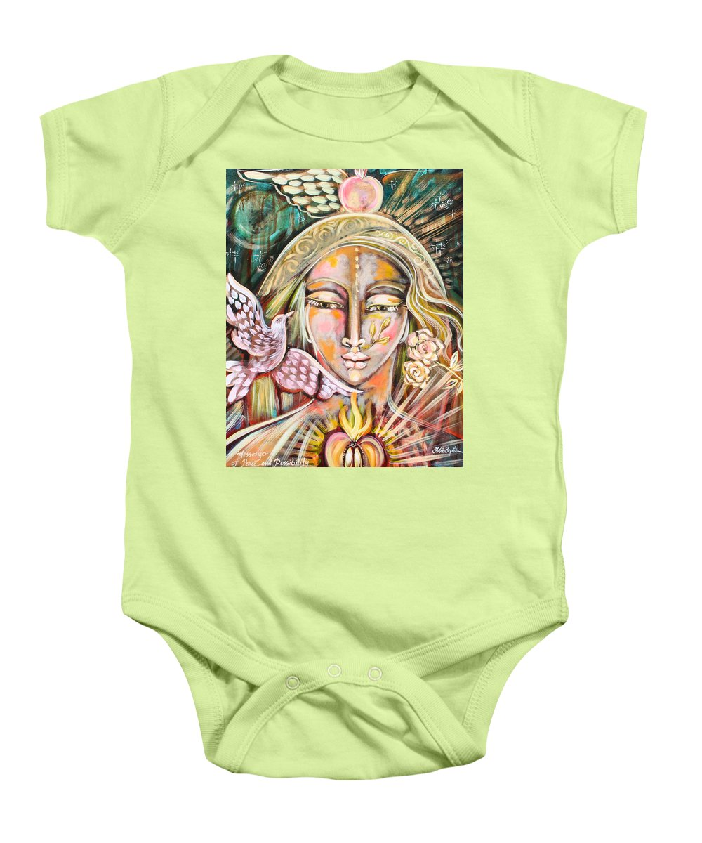 Shiloh Sophia Baby Onesie featuring the painting Messenger Of Peace And Possibility by Shiloh Sophia McCloud