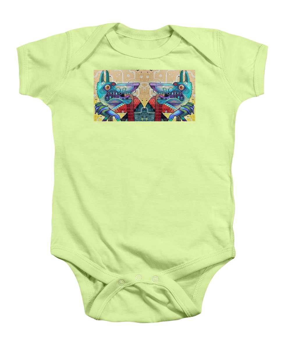 Graffiti Baby Onesie featuring the photograph Mirrored Aztec Dog by David Resnikoff
