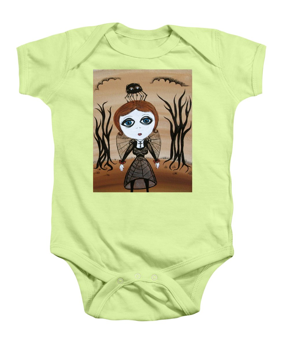 Gothic Baby Onesie featuring the painting Miz Goth by Sue Wright