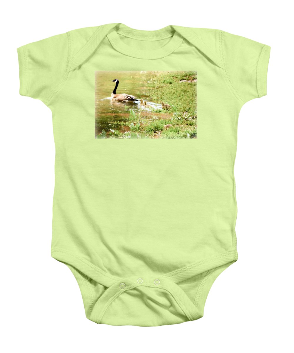 Baby Ducks Landscape Baby Onesie featuring the photograph Mom And Babies Swimming by Peggy Franz