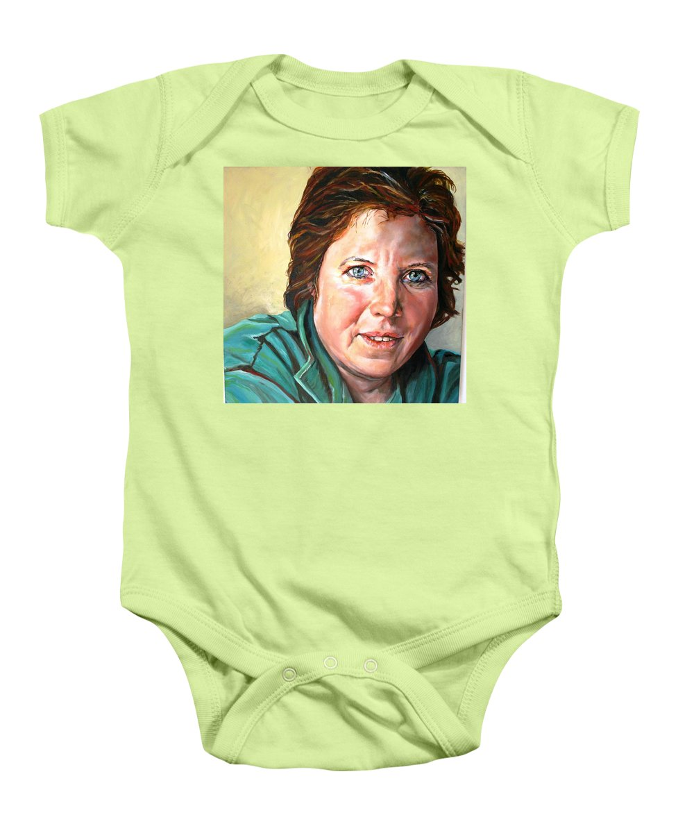 Portrait Baby Onesie featuring the painting My Sister Louisette by Jolante Hesse