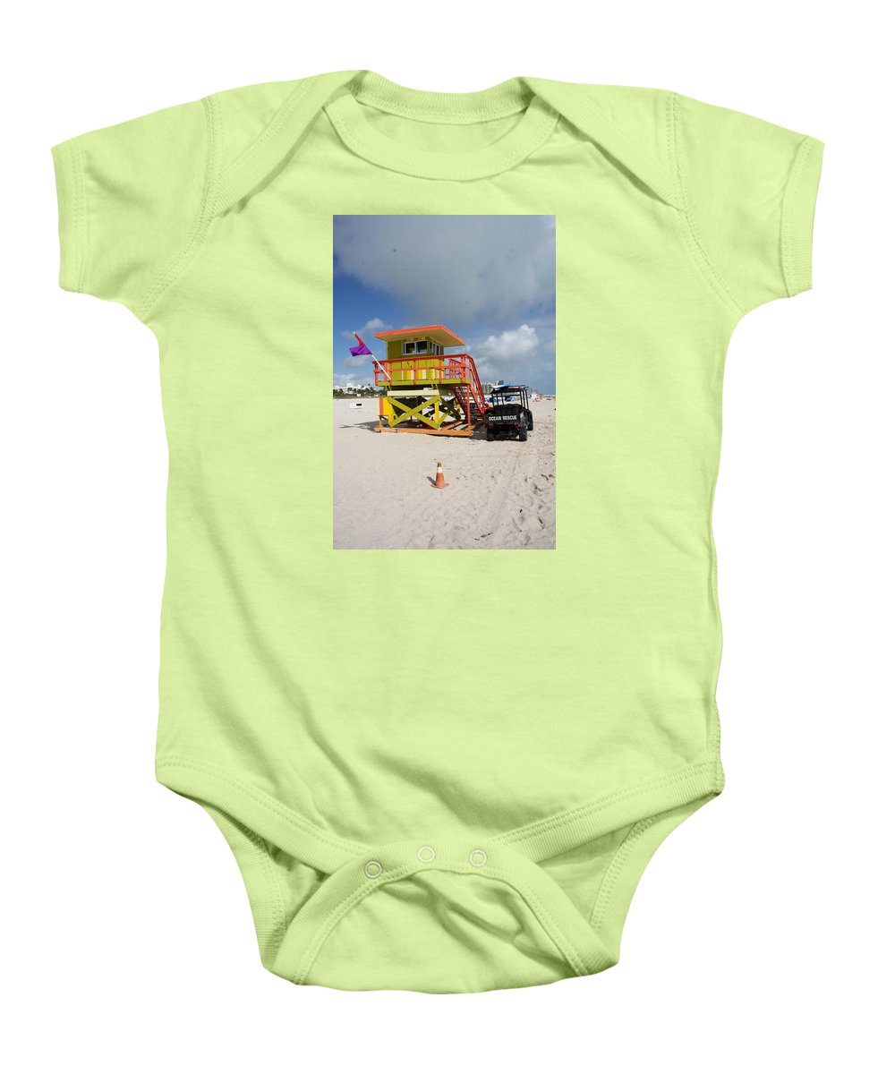 Ocean Rescue Baby Onesie featuring the photograph Ocean Rescue Miami by Christiane Schulze Art And Photography