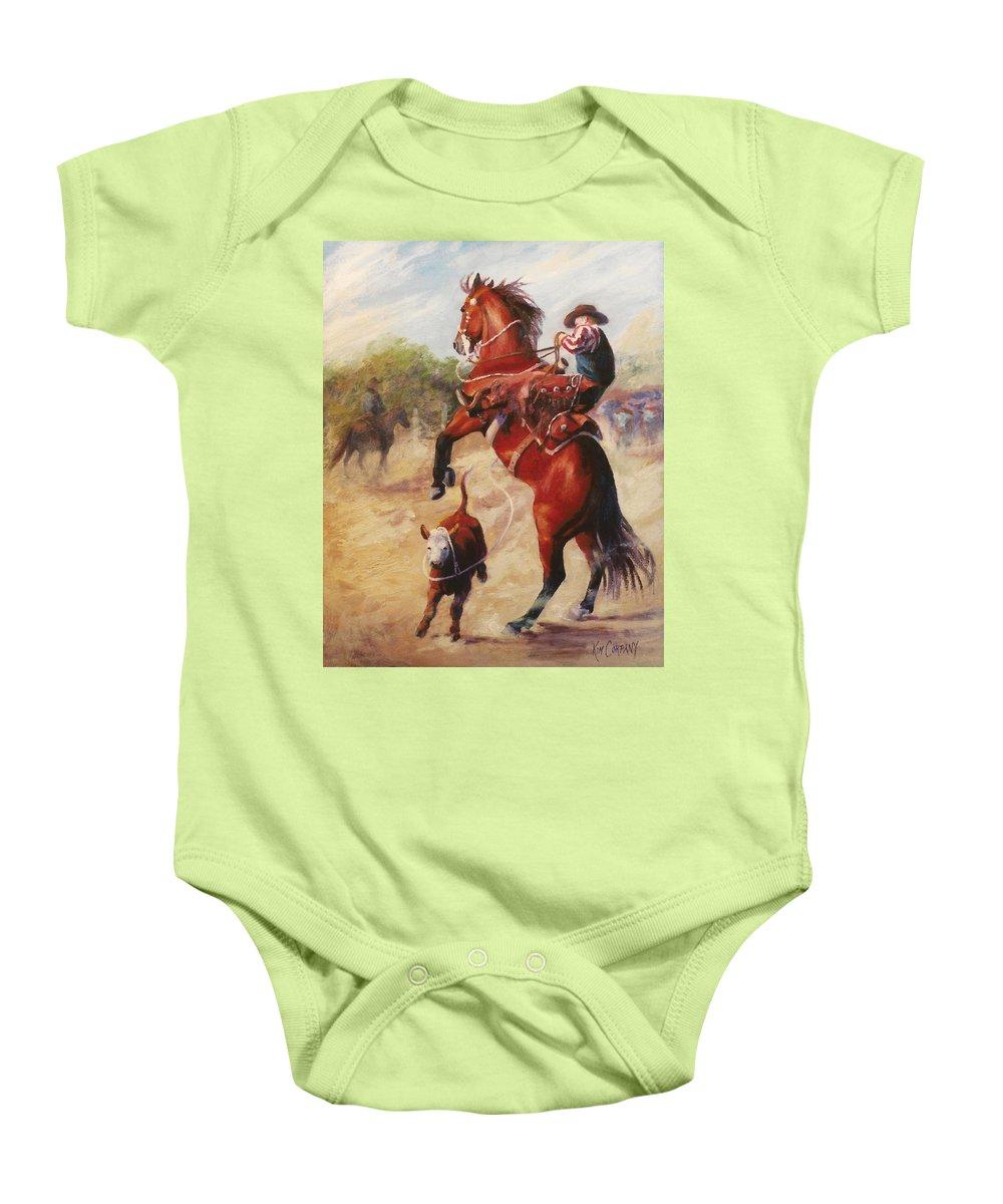 Buckaroo Baby Onesie featuring the painting Oops     Buckaroo Western Oil Painting by Kim Corpany