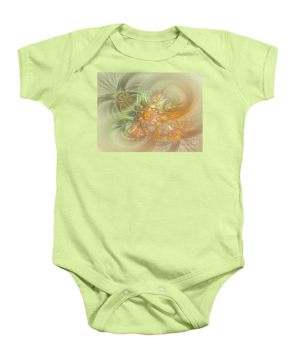 Fractal Baby Onesie featuring the digital art Pastel Delicate Pattern by Deborah Benoit