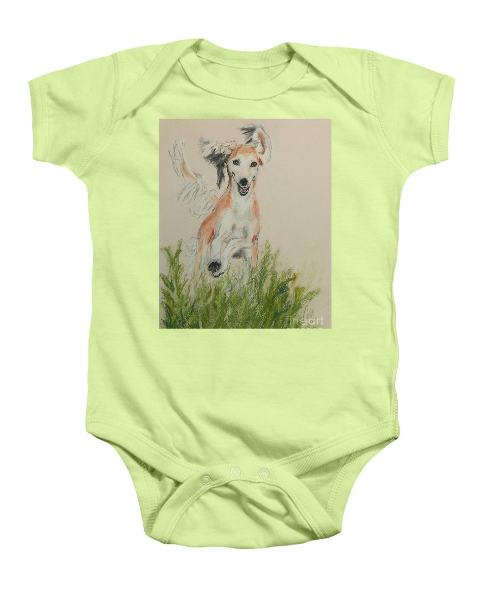 Saluki Baby Onesie featuring the drawing Pheret by Cori Solomon