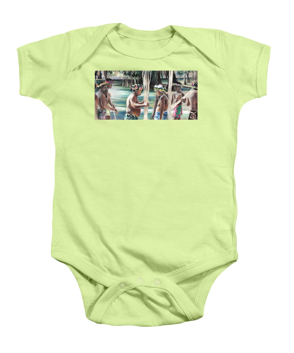 Travel Baby Onesie featuring the painting Polynesian Men With Spears by Miki De Goodaboom