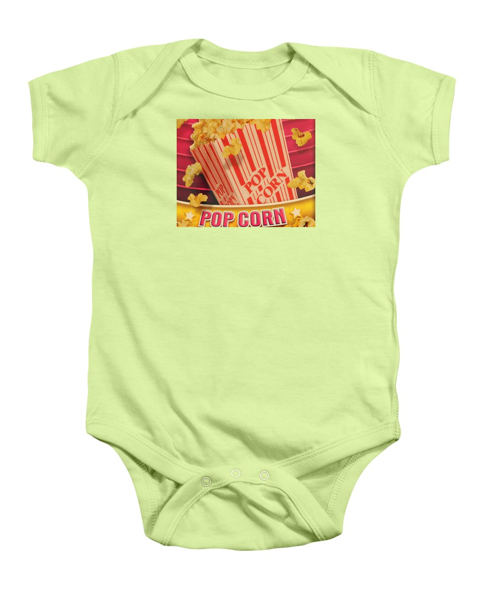 Popcorn Baby Onesie featuring the photograph Pop Corn by Cynthia Guinn