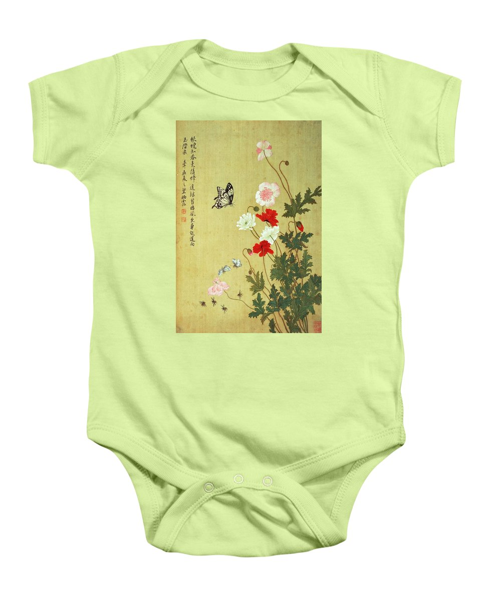 Chinese Baby Onesie featuring the photograph Poppies, Butterflies And Bees Ink And Colour On Silk by Ma Yuanyu