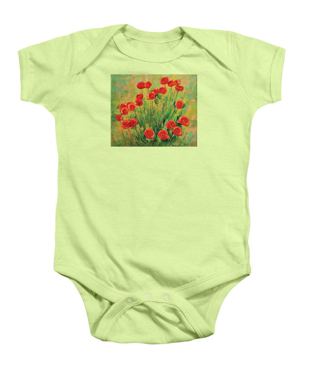 Poppies Baby Onesie featuring the painting Poppies by Iliyan Bozhanov