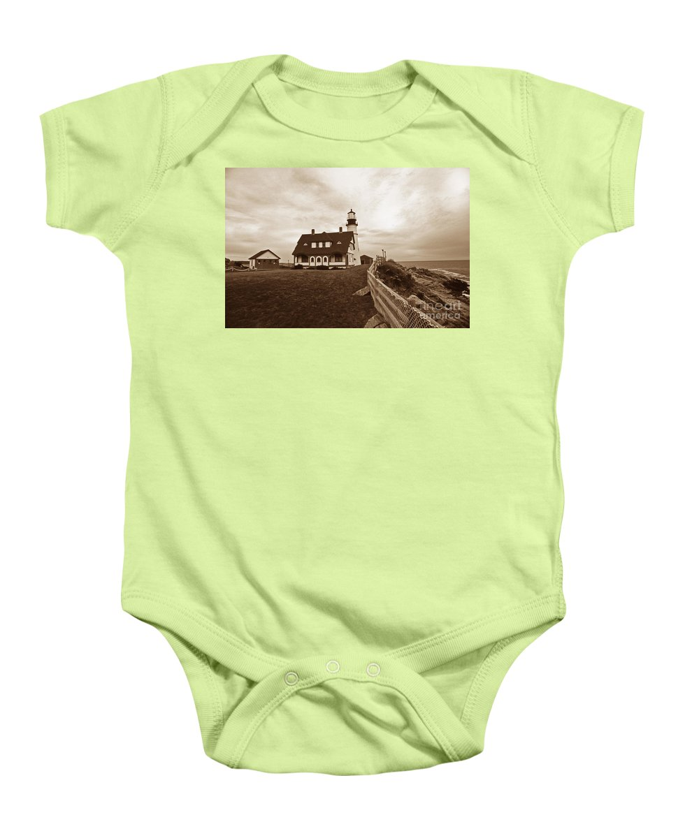 Lighthouses Baby Onesie featuring the photograph Portland Head Sepia Tone by Skip Willits