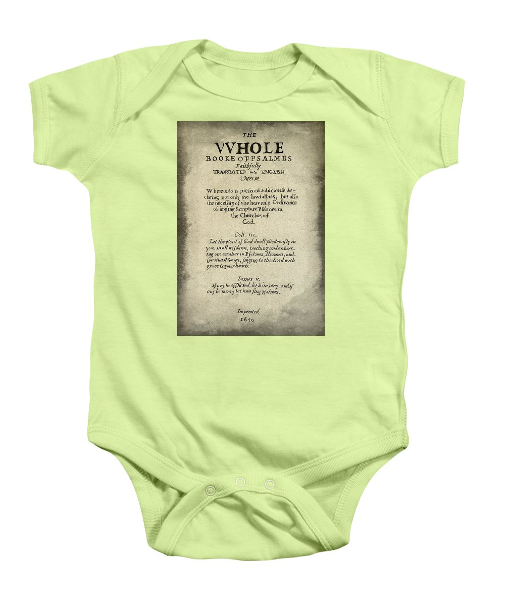 Calligraphy Baby Onesie featuring the photograph Psalms Hand Written Book Plate 1640 by Daniel Hagerman