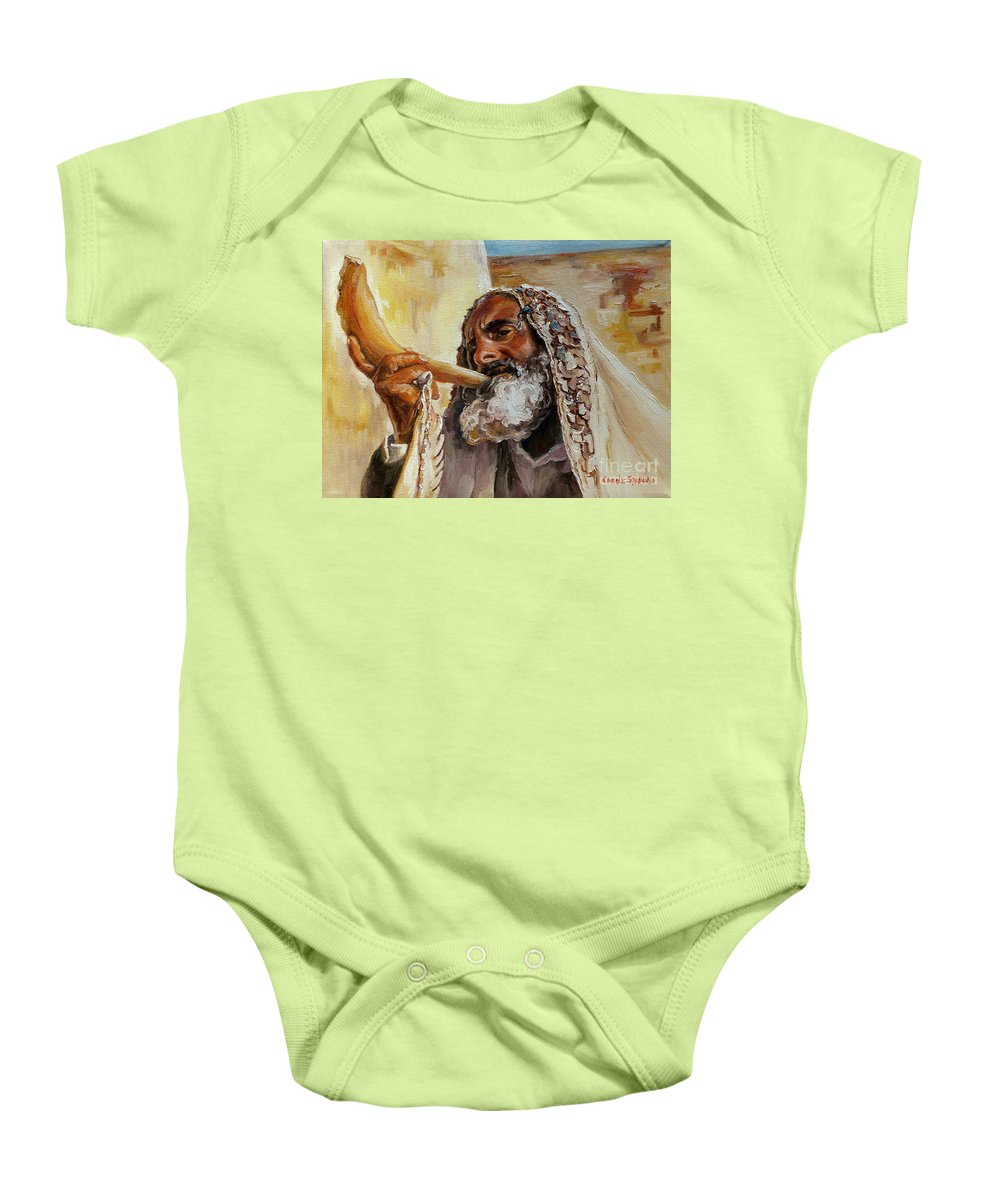 Rabbi Baby Onesie featuring the painting Rabbi Blowing Shofar by Carole Spandau