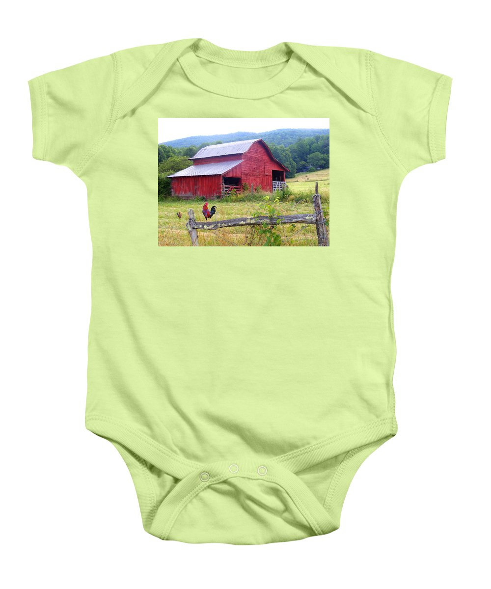 Duane Mccullough Baby Onesie featuring the photograph Red Barn And Rooster by Duane McCullough