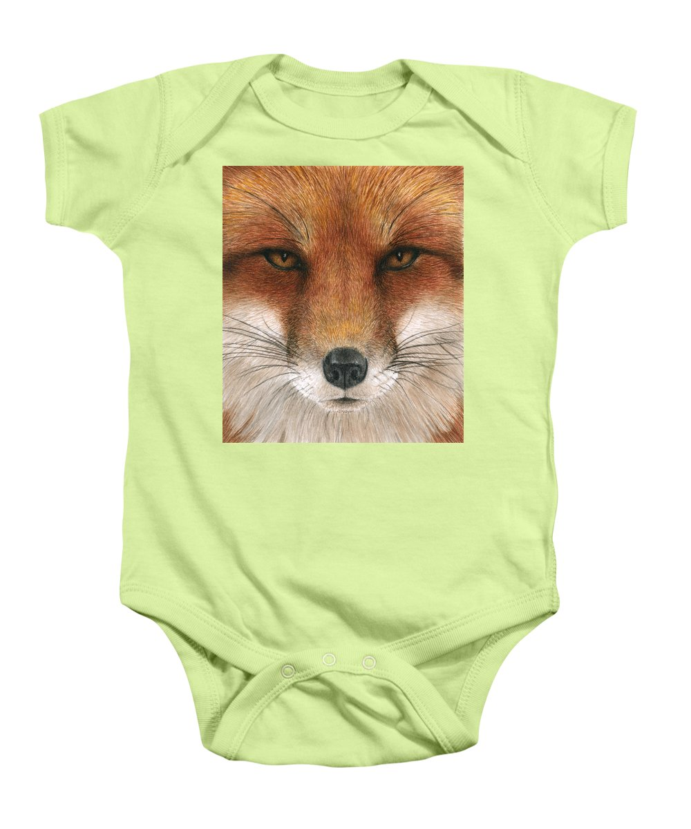 Fox Baby Onesie featuring the painting Red Fox Gaze by Pat Erickson