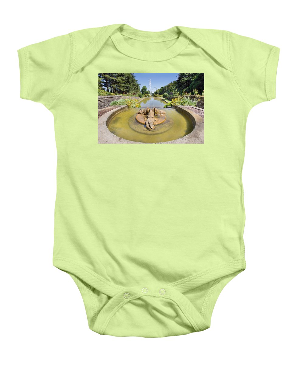 Renaissance Baby Onesie featuring the photograph Renaissance Dolphin Sculptures Water Fountain by Jit Lim