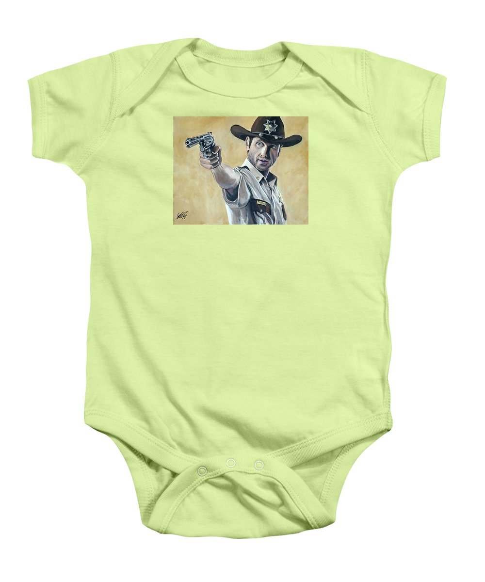 The Walking Dead Baby Onesie featuring the painting Rick Grimes by Tom Carlton