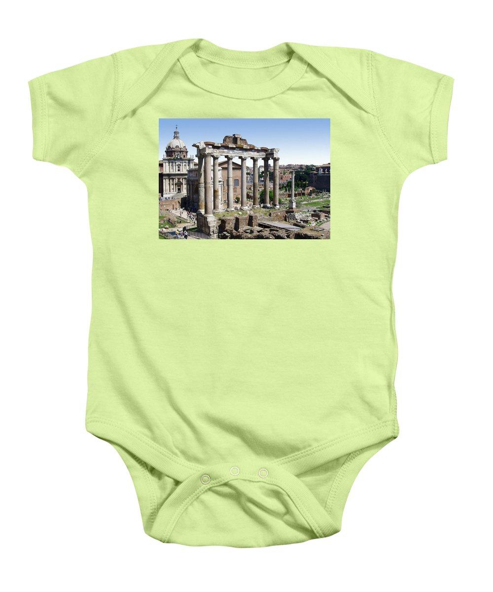Roman Forum Baby Onesie featuring the photograph Roman Forum by Ellen Henneke