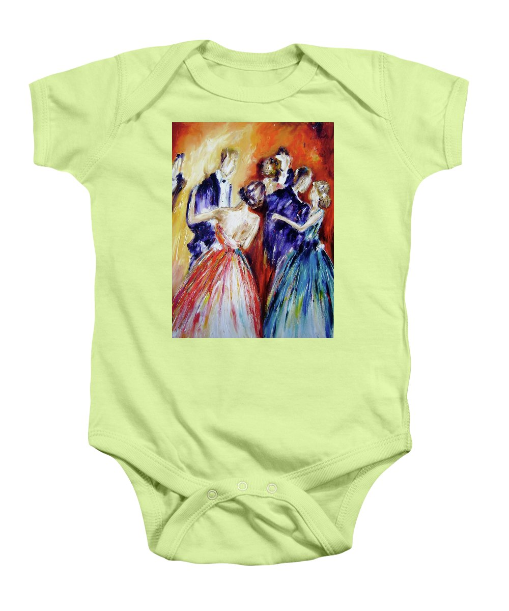 Romance Baby Onesie featuring the painting Dance In Romance by Mary Cahalan Lee- aka PIXI