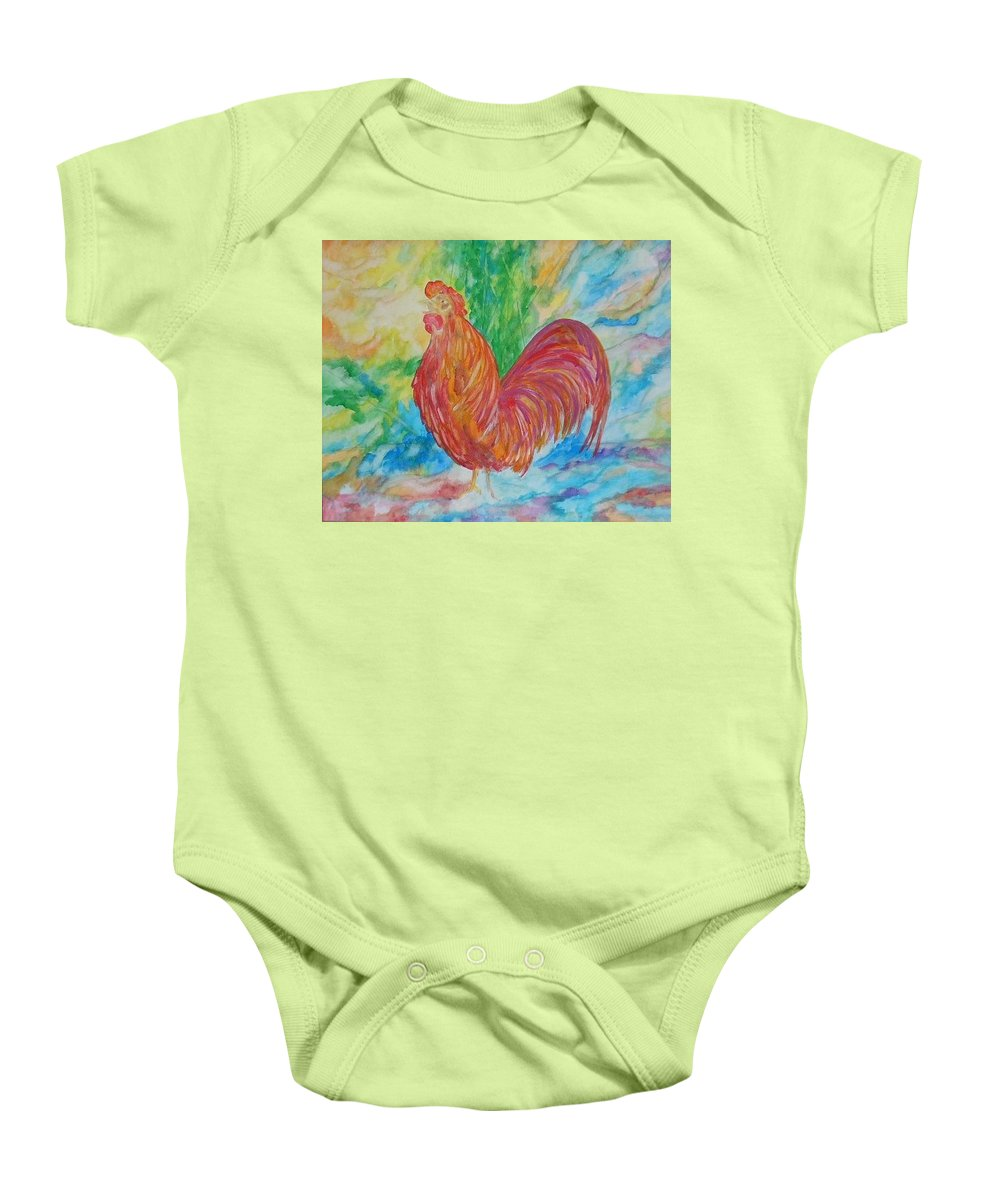 Rooster Baby Onesie featuring the painting Rooster by Lord Frederick Lyle Morris
