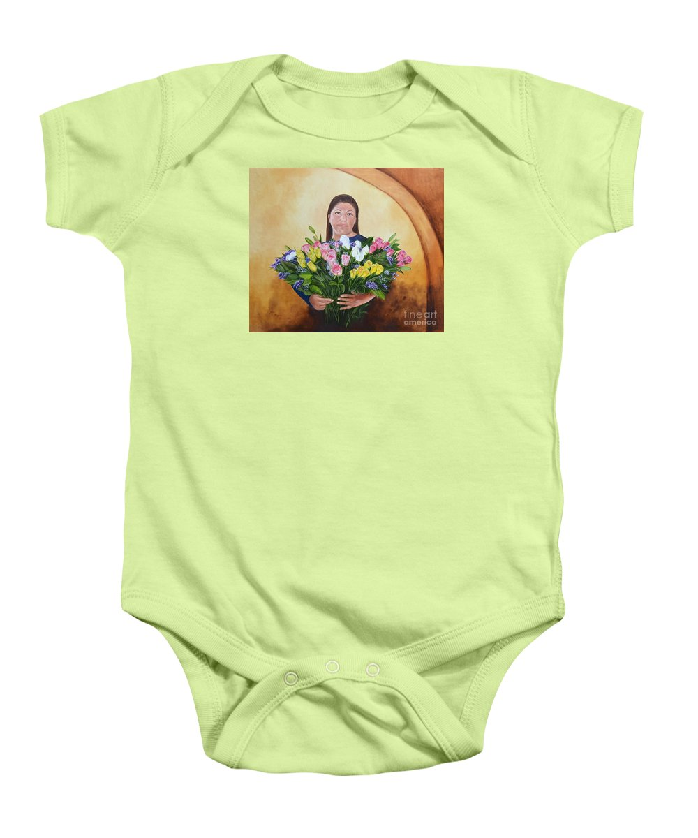 People Baby Onesie featuring the painting Rosa's Roses by Mary Rogers