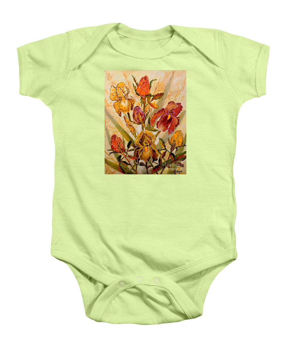 Roses Baby Onesie featuring the painting Roses And Irises by Lou Ann Bagnall