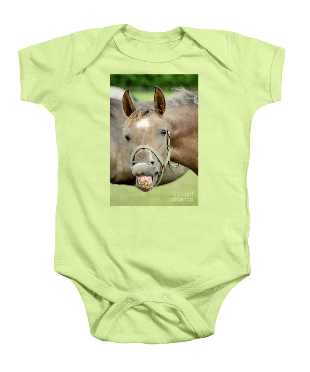 Horse Baby Onesie featuring the photograph Say Cheese by Angel Tarantella