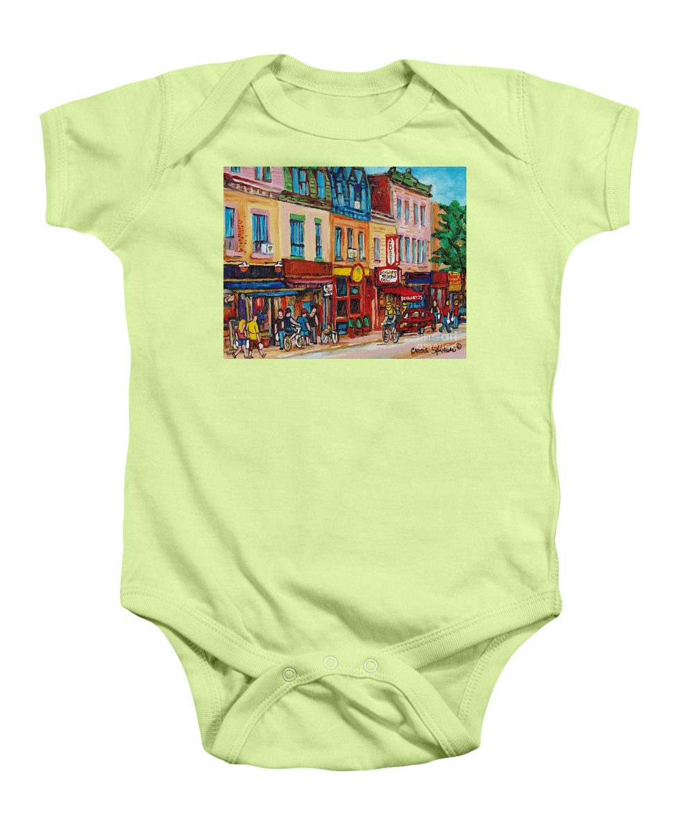 Schwartz Deli Baby Onesie featuring the painting Schwartzs Deli And Warshaw Fruit Store Montreal Landmarks On St Lawrence Street by Carole Spandau