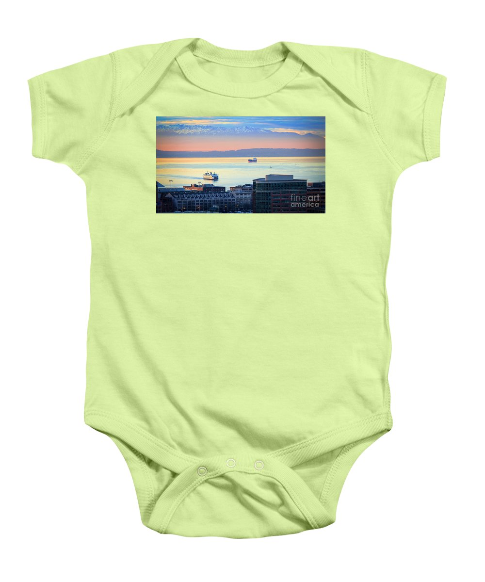 Seattle Baby Onesie featuring the photograph Seattle And Elliott Bay by Inge Johnsson