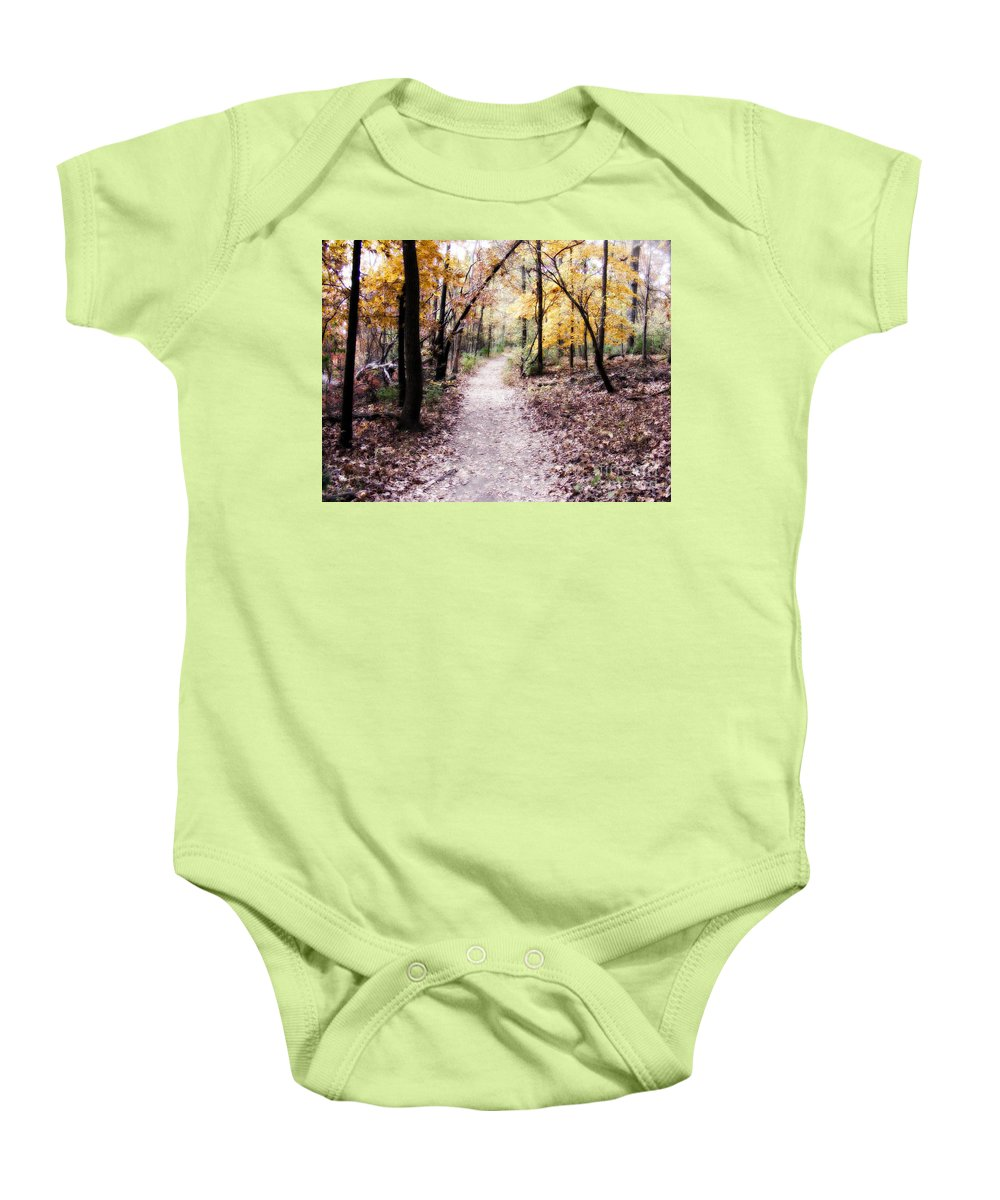 Trails Baby Onesie featuring the photograph Serenity Walk In The Woods by Peggy Franz