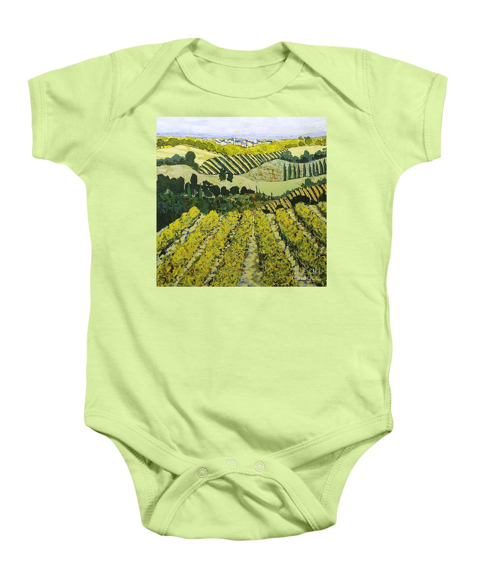 Landscape Baby Onesie featuring the painting Sharing The Discovery by Allan P Friedlander