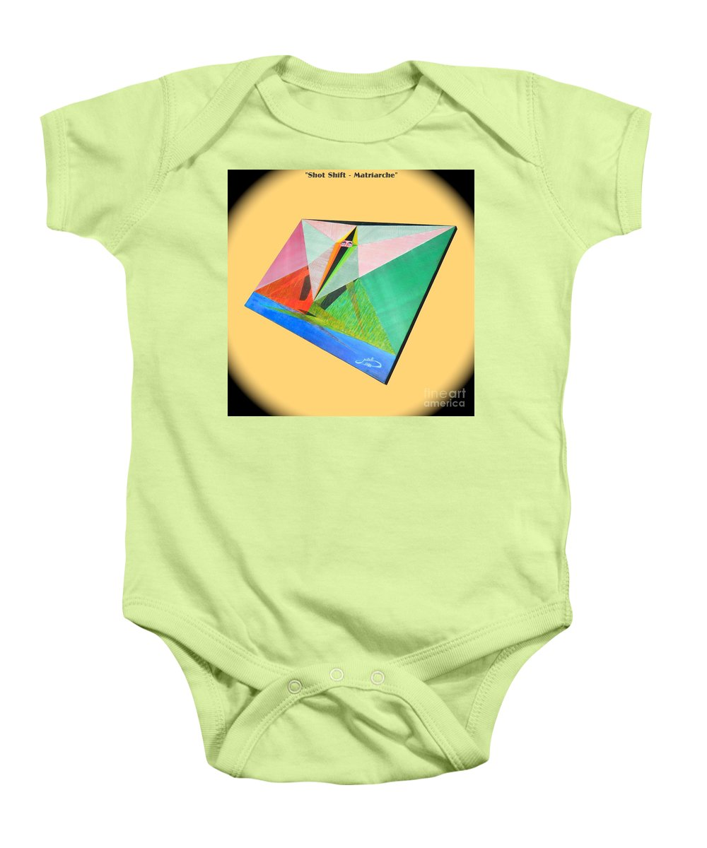 Spirituality Baby Onesie featuring the painting Shot Shift - Matriarche 1 by Michael Bellon