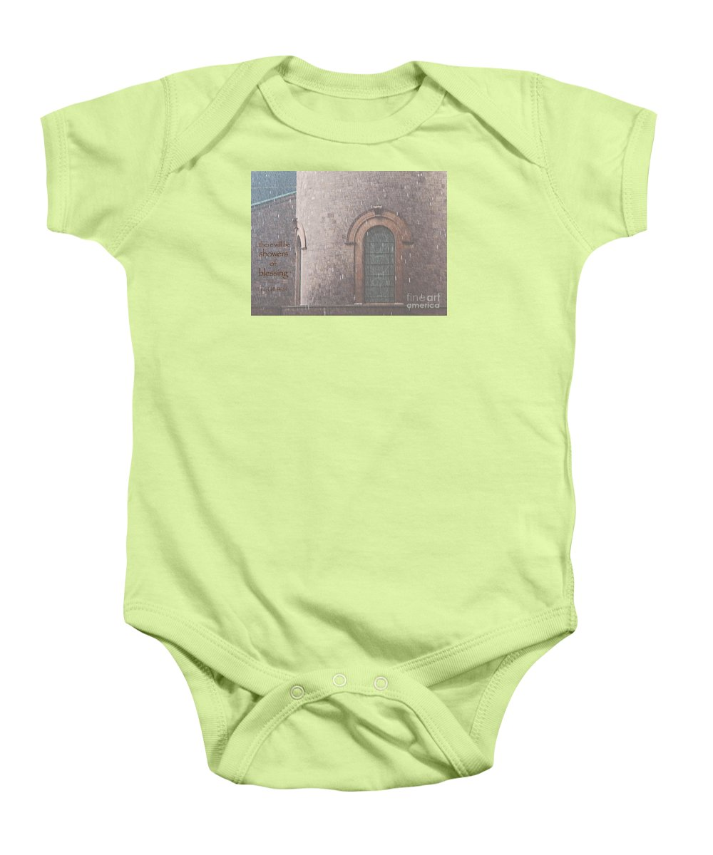 Rain Baby Onesie featuring the photograph Showers Of Blessing by Ann Horn