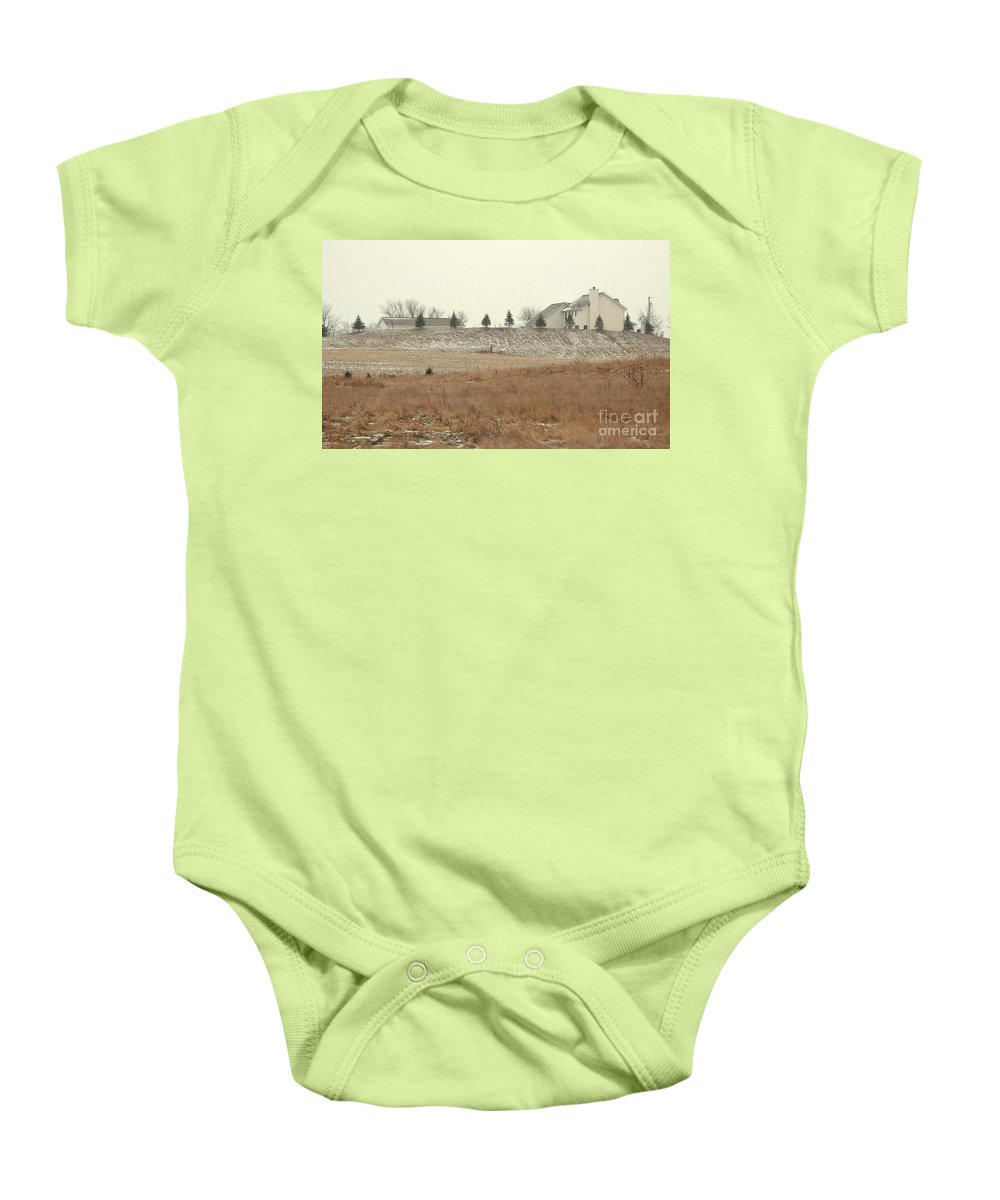 Winter Baby Onesie featuring the photograph Snow-showered by Ann Horn