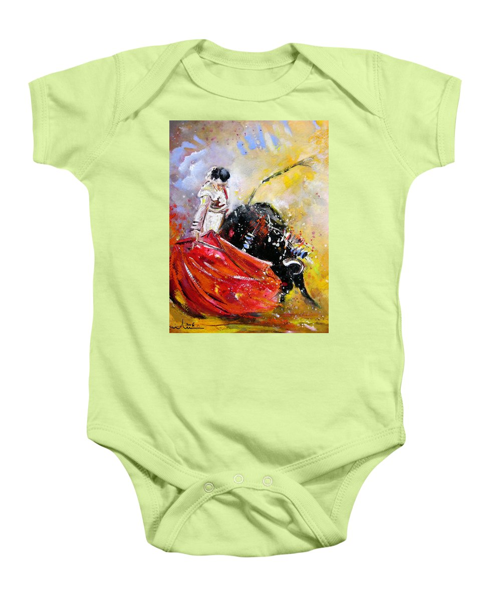 Bullfight Baby Onesie featuring the painting Softly And Gently by Miki De Goodaboom