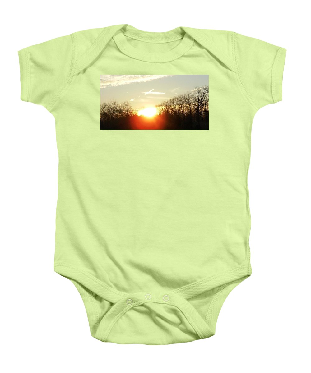 Contrail Baby Onesie featuring the photograph Son Above The Sun by Nick Kirby