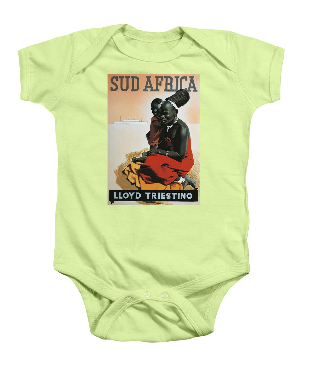 Illustrations; Advertising; Tourism; Africa; South Africa; Europe; Italy; Lloyd Triestino; Hairstyle; Mother And Son; Poster; Sketch; Traditional Costume; Black Baby Onesie featuring the drawing South Africa by Anonymous