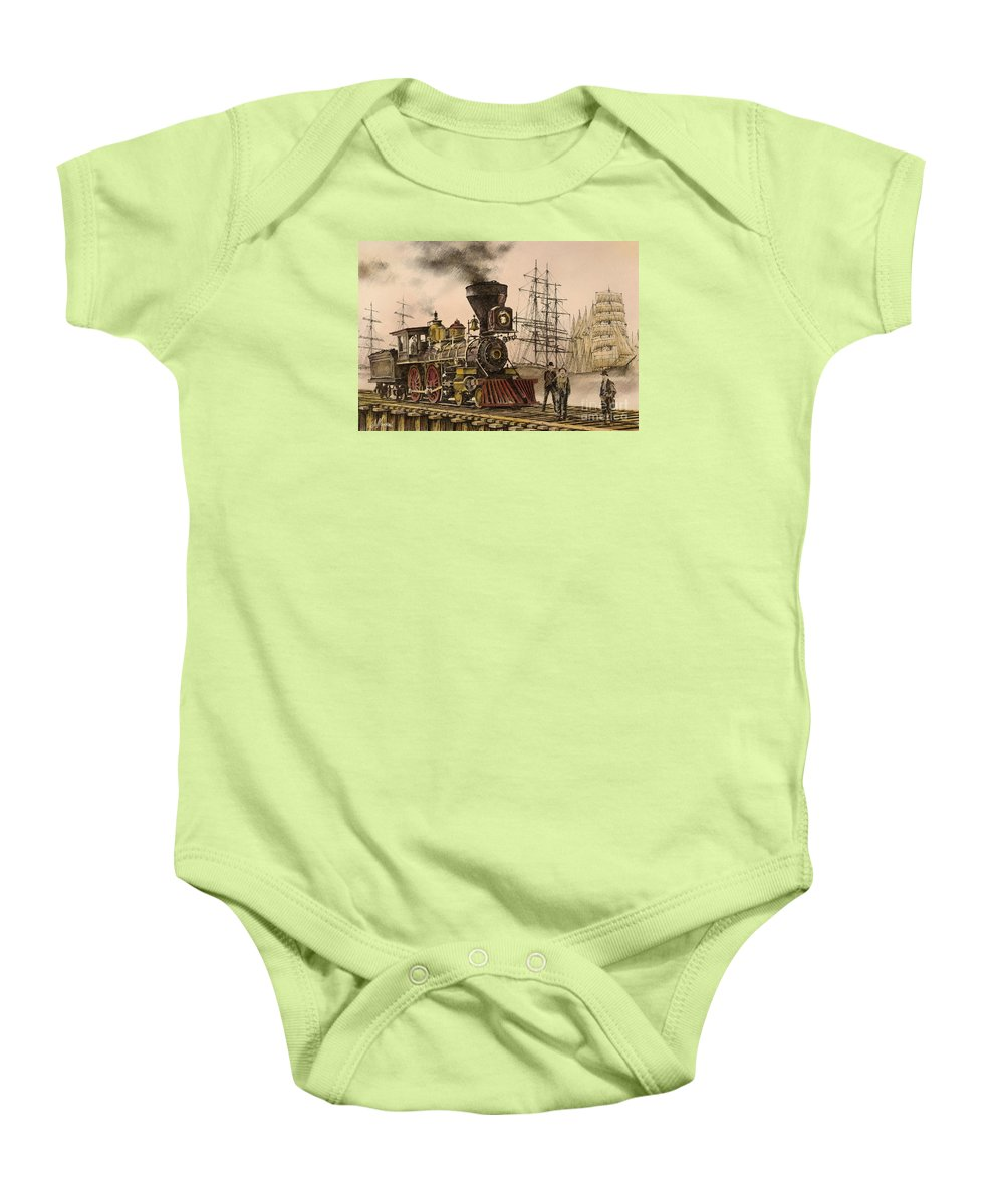 Railroad History Baby Onesie featuring the painting Steam And Sail by James Williamson