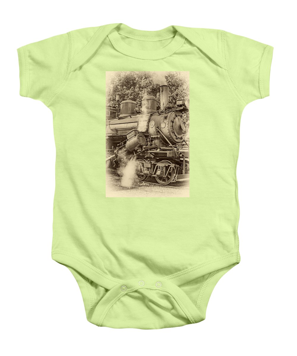 Pocahontas County Baby Onesie featuring the photograph Steam Power Sepia Vignette by Steve Harrington