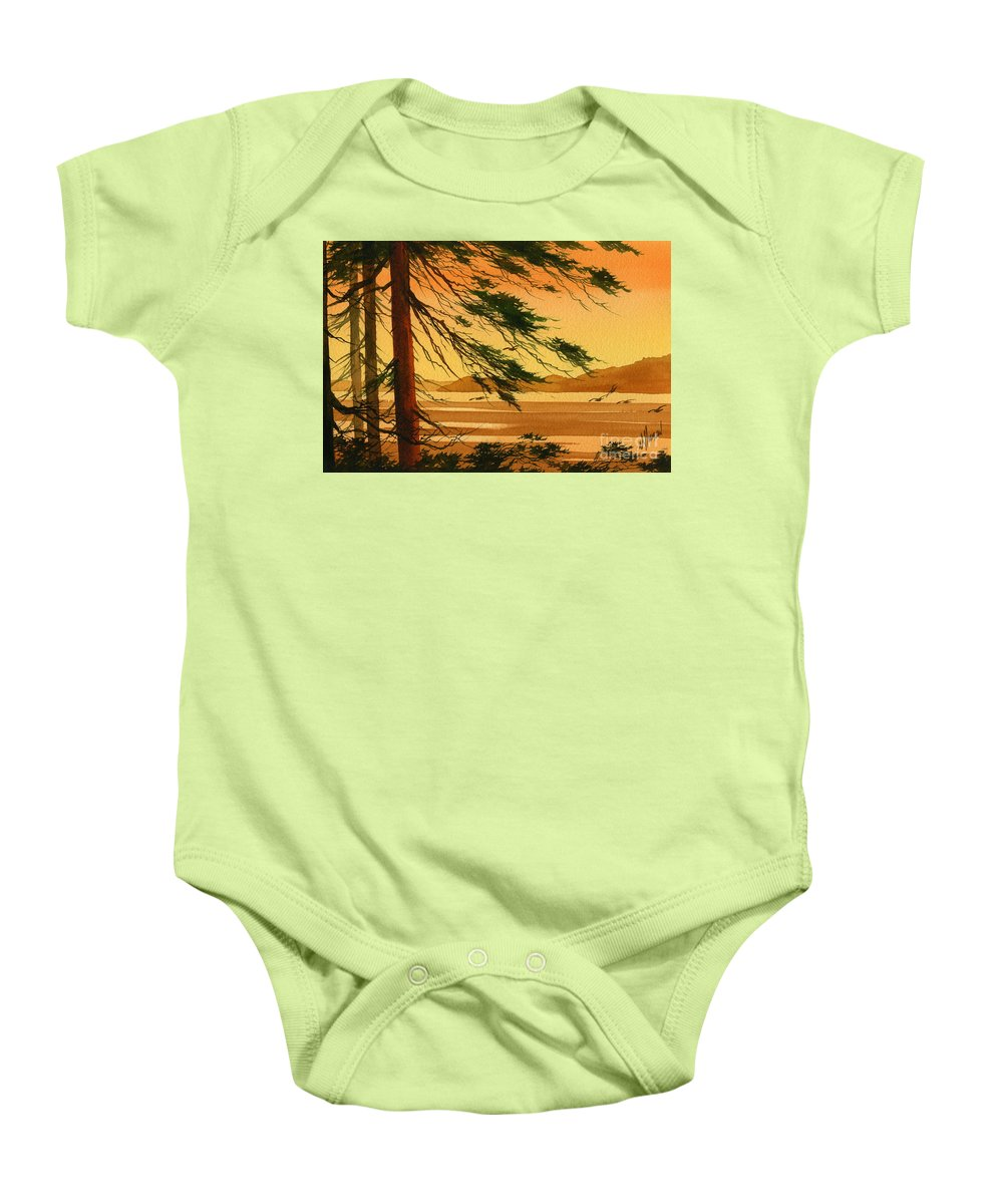 Landscape Fine Art Print Baby Onesie featuring the painting Sunset Splendor by James Williamson