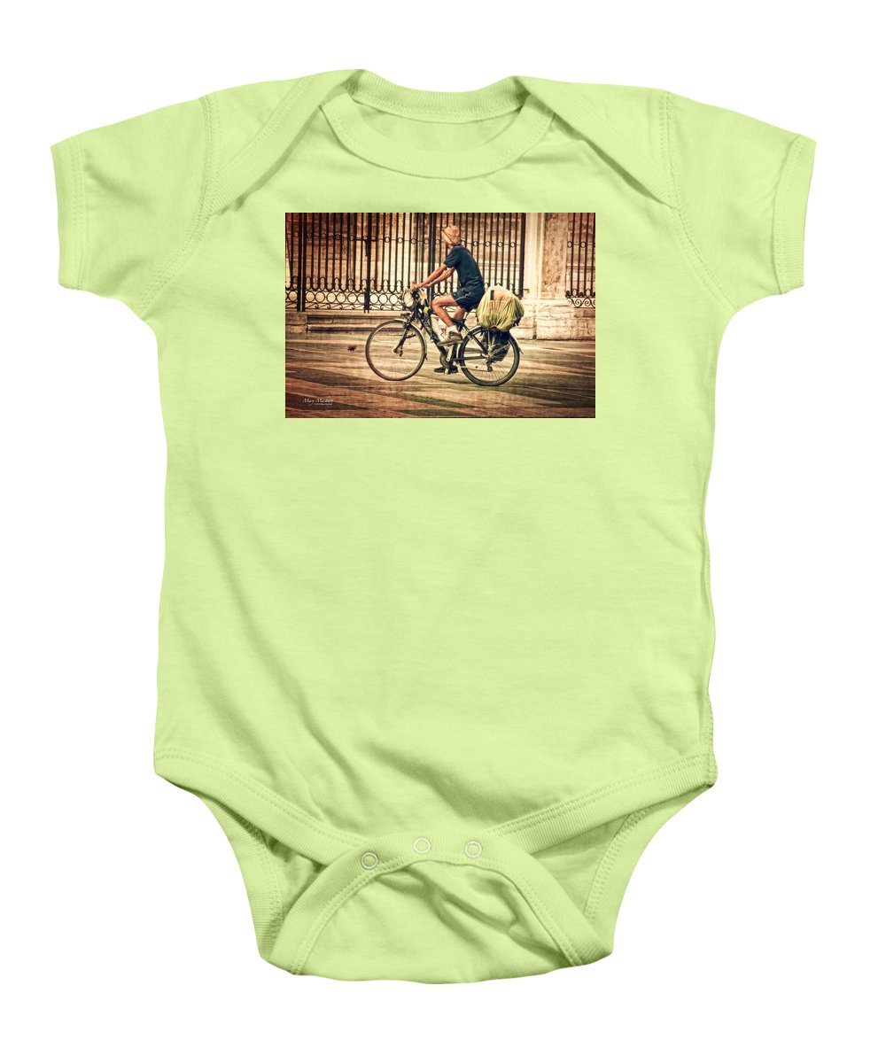 The Bicycle Rider Baby Onesie featuring the photograph The Bicycle Rider - Leon Spain by Mary Machare